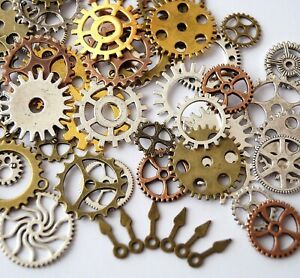 50 Metal Bronze Silver Gold Steampunk Cogs and Gears Clock Hand Charm Mix TSC66