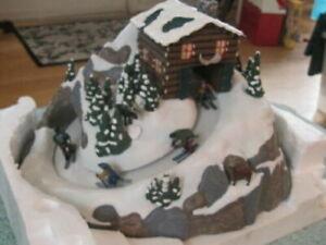 Mr. Christmas North Lodge Moving Skiers 15 Christmas Carol Music Box MIB VIDEO