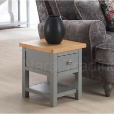 Richmond small lamp table grey painted furniture with solid oak top