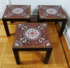 Vintage Ceramic Tile Top Painted Wooden End Side Table Lot (Local Pickup Only)