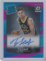 2017-18 DONRUSS OPTIC RATED ROOKIE PINK REFRACTOR T.J. LEAF AUTO RC #25
