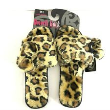 Beverly Rock Womens Slippers Slides Leopard Print Pom Faux Fur Brown XL 10.5-11