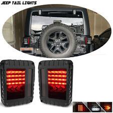 2PCS LED Rear Brake SMOKE Tail Lights For 2007-2018 Jeep Wrangler JK