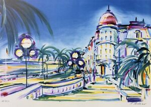 Pierre Bellier: Nice The Negresco - Lithography Signed Pencil, 250ex
