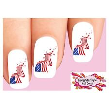 Waterslide Nail Decals Set of 20 - 4th of July USA American Flag with Stars