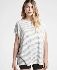 NWOT ATHLETA Release Tee Stripe - L - LARGE - Breezy Stripe White - Lifestyle