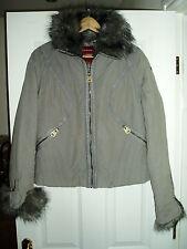 Ladies FIRETRAP Size L Grey Jacket With Fur Collar & Cuff