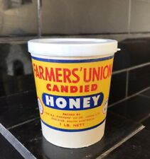 Farmer's Union Vintage 1lb Candied Honey Cup Container With Lid MINT