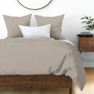 Taupe Brown Houndstooth Check Dogtooth Dogstooth Sateen Duvet Cover by Roostery