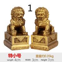 A Pair Mini Brass Lion Figurine Statue Chinese Feng Shui Wealth Lucky Art Modern