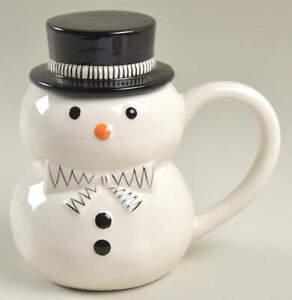 Potter's Studio Black and White Snowman Mug & Lid 11906069