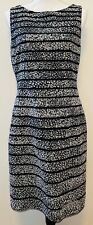 Ann Taylor Dress Black and White Animal Print Stripe Sleeveless Lined Size 8