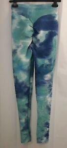 Women's Butt Lift Leggings Small Tie Dye Blue White pastel Rouched gym yoga run