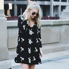 153810 New $148 Free People Floral Embroidered Emma Austin Black Tunic Dress S