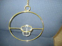 "Vintage Round Brass 18"" Chain Hanging Candle Holder With clear glass votive cup"