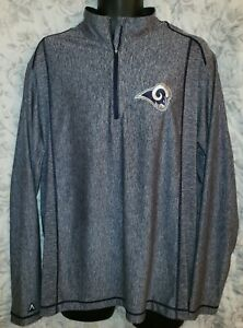 Los Angeles Rams Blue Heather Antigua Pullover Golf Jacket - Mens XL