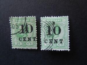 G1241 SURINAME  1898  NVPH 31  2 X USED 1 X  ERROR  BROKEN  OVERPR  OFF  CENTER