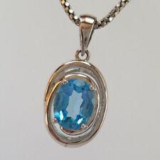 Genuine Blue Topaz Oval 9 x 7mm Gemstone 925 Sterling Silver Necklace Pendant