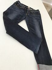 MISS EDWIN WOMENS JEANS BLUE TIGHT STRAIGHT Pockets Funky 29x 32