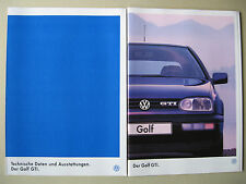 Prospekt VW Golf 3 GTI 2,0 115 PS AGG III Facelift Modell 1996 1997 deutsch
