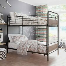 Twin Over Twin Bunk Bed, Metal Frame and Rustic Gray Accents