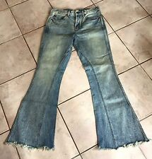 NEW Free People Distress Flare High Rise Jeans Striped Inserts Frayed Hem 29