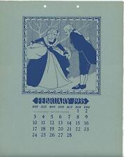 VINTAGE VERSAILLES PUPPET SHOW MARIONETTE FEBRUARY 1935 WOODBLOCK CALENDAR PRINT