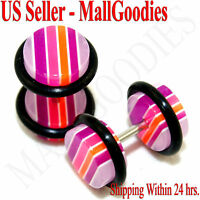 1153 Fake Cheaters Faux Illusion Ear Plugs 16G Stripes Purple Pink 0G Earrings