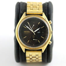 Seiko 6138 8020 [Gold Panda] Automatic Chronograph Watch. Running. JDM