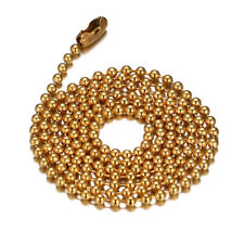 24inch 2.4mm Gold Women Men Necklace Ball Chain Link Choker Stainless Steel Gift