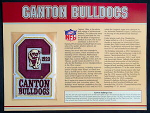 CANTON BULLDOGS ~ Willabee & Ward NFL GOLDEN AGE FOOTBALL PATCH & INFO STAT CARD