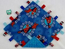 Double Minky! Spiderman Minky & Blue Minky Tag Taggie Security Blanket Baby