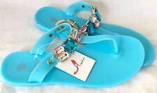 Ladies Thin sole Baby Blue Diamond 💎 Flip Flops UK Size 4 EU 37 UK Seller