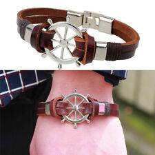 Vintage Rudder Design Men Bracelet Bangle Double Layer Leather Classic JewelryFH