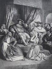 Lithographie originale, Anne de Boulen, Achille Devéria (1800-1857)