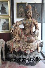 """80"""" Chinese Wood Painted Comfortable Kwan-yin Bodhisattva Goddess Guanyin Statue"""