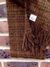 Harris Tweed Scarf Shawl Wool Khaki Green Aubergine Rust Luxury check soft Brown