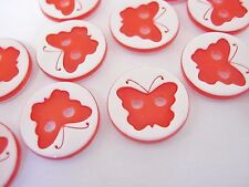 10 Red Butterfly Buttons 13mm (1/2 inch) Girl Clothes Butterflies Insect Buttons