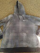 NIKE Black White Check Hypnotic Pattern Hoodie Pullover Sweatshirt Shirt XL