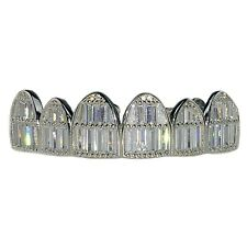 Real Solid 925 Sterling Silver Grillz Baguette CZ Bling Grills For Top Teeth