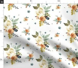 Western Autumn White Woodland Floral Flowers Fall Spoonflower Fabric by the Yard