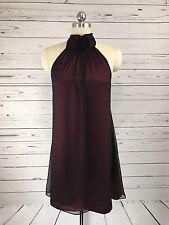 Alice Olivia Red Black Silk Choker Tie Dress Sleeveless Womens Sz XS
