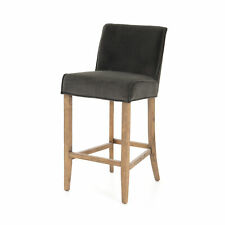 "19.5"" W Set Of 2 Jeremy Bar Stool Grey Velvet Polyester Solid Wood Legs Modern"