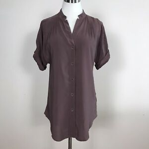 Anthropologie Maeve Brown Silk Blouse Sz XS - Button Front Short Sleeve