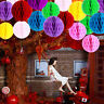 5pcs Tissue Paper Pom Poms Honeycomb Balls Hanging Lanterns Wedding Party Decor