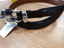 Men's Black Leather Belt With Brown Trim Size 42 R