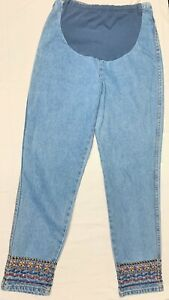 Maternity Denim Jeans Pants Medium - Colorful Embroidery by Motherhood M