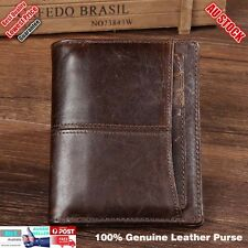Premium Genuine Leather Bifold Business Credit Card Wallet Mens Purse