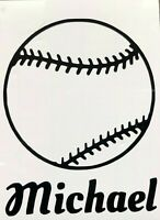 Color & Size Personalized Baseball Softball Name Vinyl Decal Sticker Car Window
