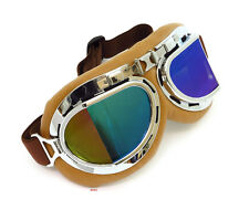 Vintage Aviator Style Motorcycle Scooter Goggles - Brown Chrome - Rainbow Lens